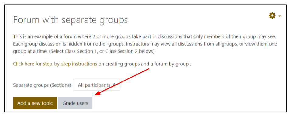 Screen image of Moodle forum page with Grade users button highlighted by an arrow
