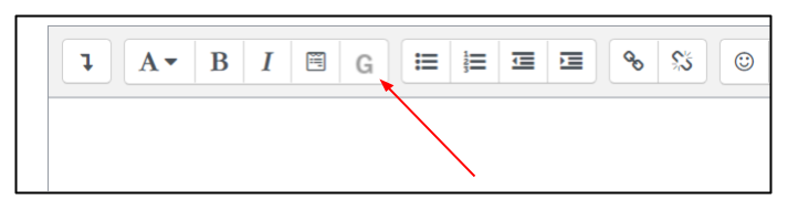 Moodle editor menu bar with arrow pointing to button with a G on it