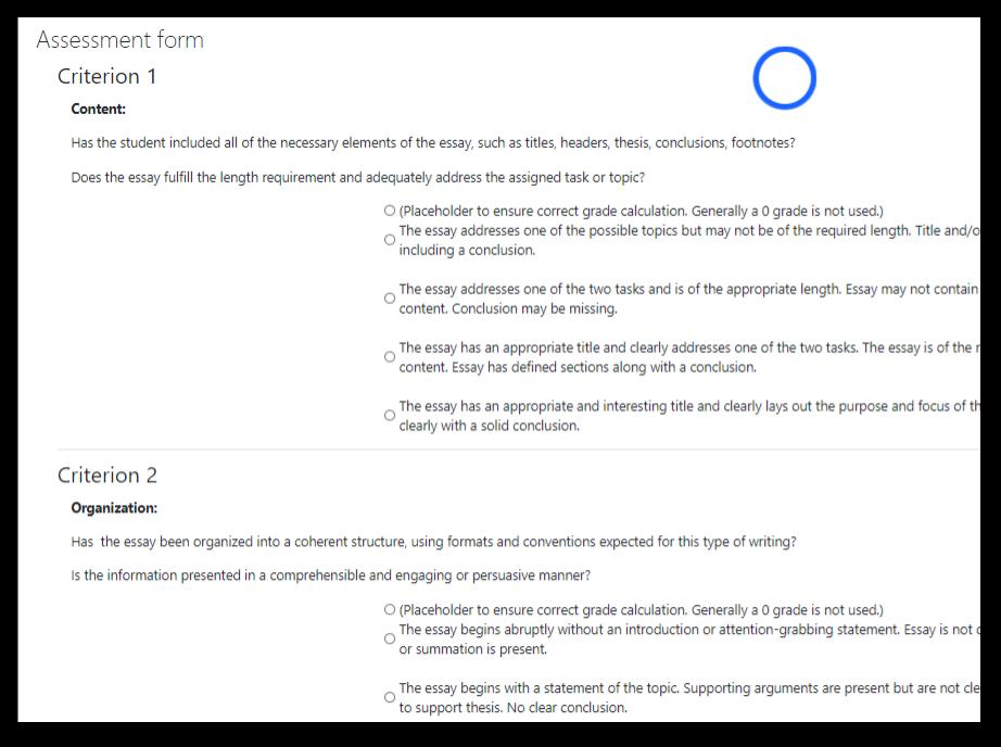Screen capture of Moodle Workshop rubric in listformat
