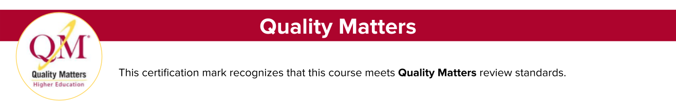 Quality Matters Certification Banner