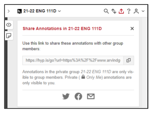 Screen capture of hypothesis sharing link