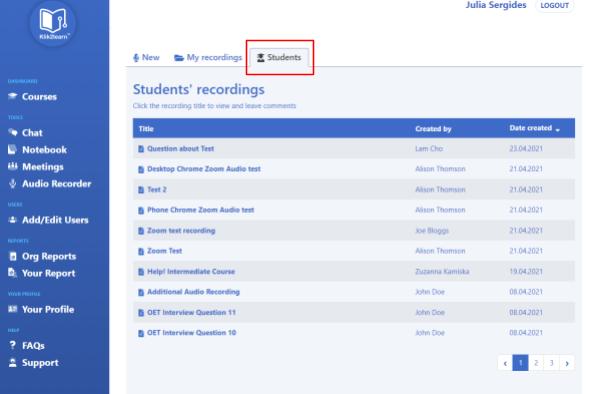 students tab