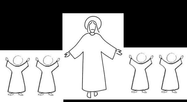 réaliser une frise avec la silhouette des enfants, autour de Jésus