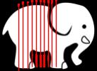 image de éléphant et des tranches fines verticales