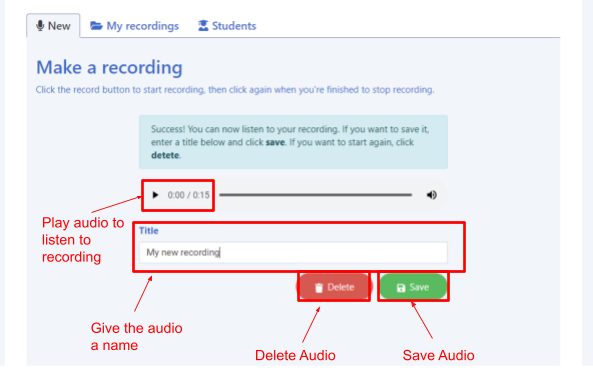 saving an audio recording
