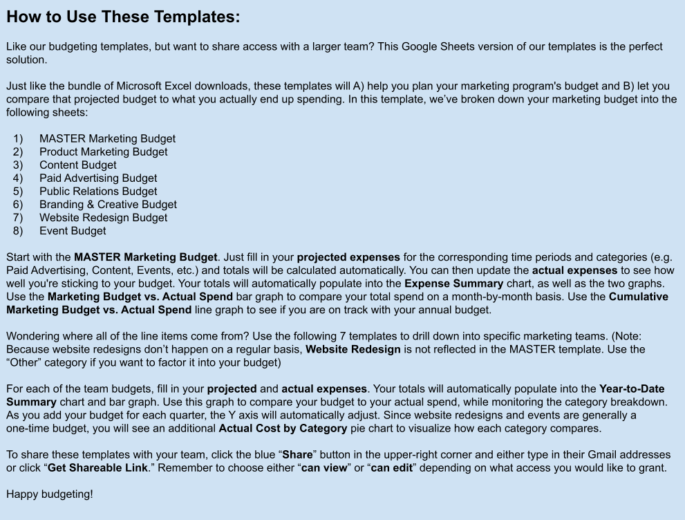 Hubspot Marketing Budget Templates