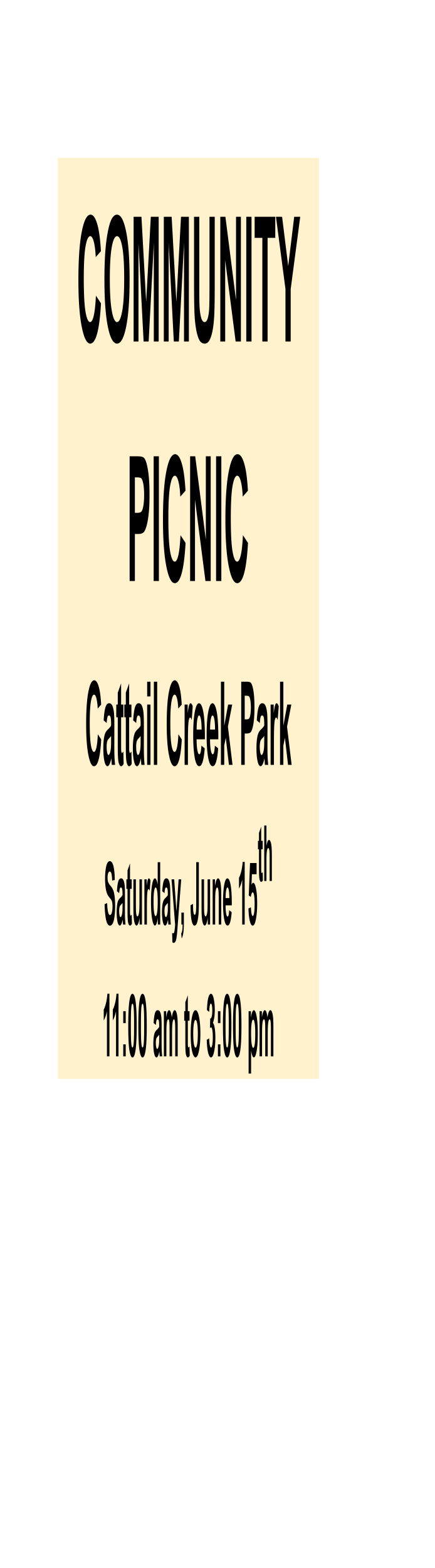 Community Picnic at Cattail Creek Park Saturday June 15th from 11am to 3pm