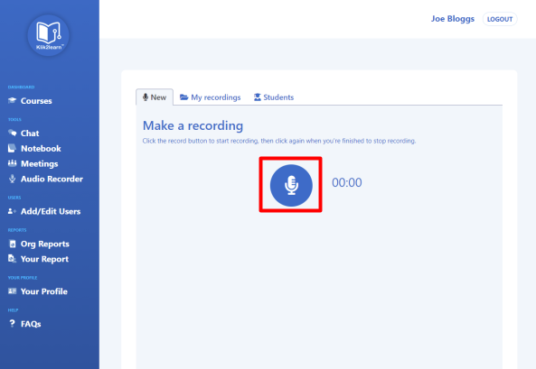 audio recording page