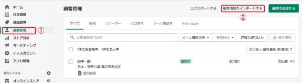 shopify 顧客管理画面