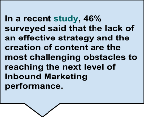 In a recent study, 46% surveyed said that the lack of an effective strategy and the creation of content are the most challenging obstacles to reaching the next level of Inbound Marketing performance.