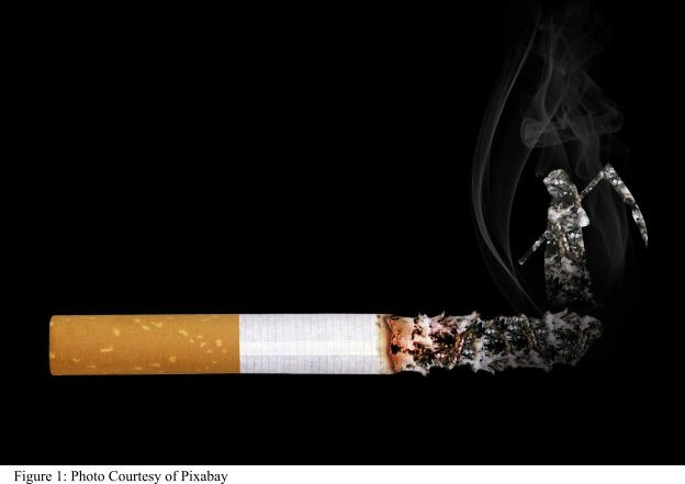 An oversized cigarette on black background with long ash, the grim reaper emerging from the ash with the smoke, facing the butt of the cigarette