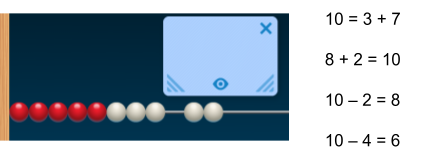 A number rack showing 8 beads next to 2 beads. Equation options: 10 = 3 + 7, 8 + 2 = 10, 10 minus 2 = 8, and 10 minus 4 = 6.