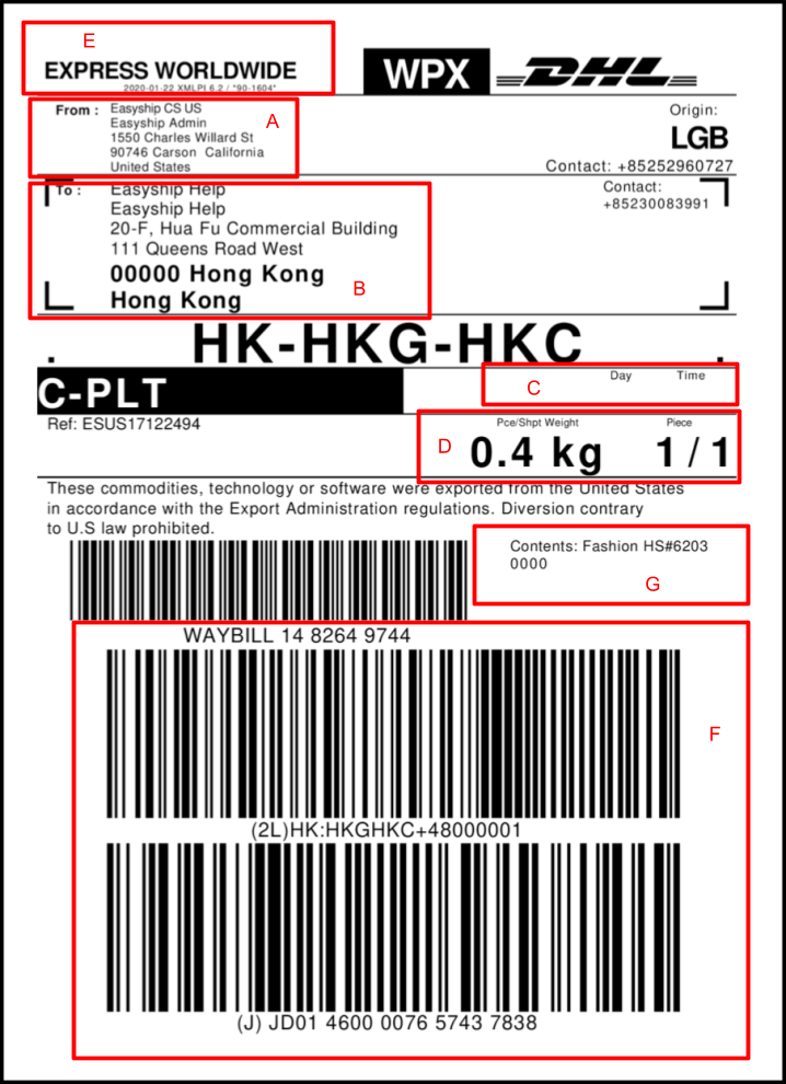 Example of Shipping Label