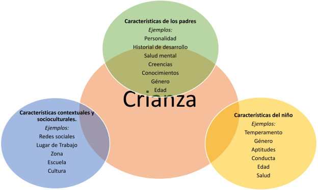 """""""Parenting"""" in a circle with three other circles around it.   The first circle is, """"Contextual & Sociocultural Characteristics."""" The bullented examples under it are: Social Network Work Setting Neighborhood School Culture  The second circle is, """"Parent Characteristics."""" The bullented examples under it are: Examples: Personality Developmental history Mental Health Beliefs Knowledge Gender Age  The third circle is, """"Child Characteristics."""" The bullented examples under it are: Temperament Gender Skills Behavior Age Health"""