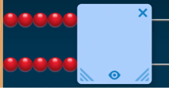 A number rack shows 5 red beads on the top row and 5 red beads on the bottom row. An unknown number of white beads are covered by a blue screen.