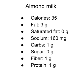 Almond milk calories