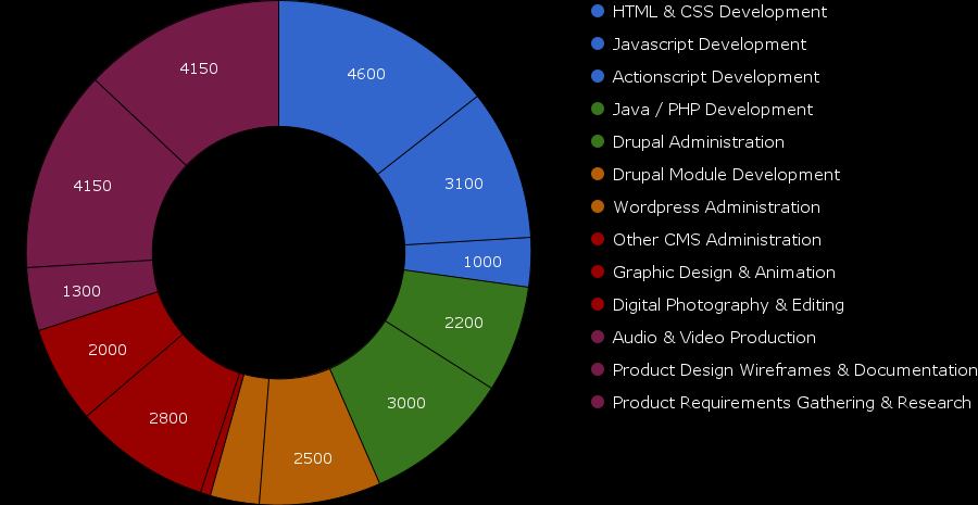 Chart showing Manuel Mejia's work experience since 2001
